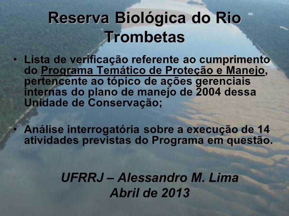 Reserva Biológica do Rio Trombetas Lista de verificação referente ao cumprimento do Programa Temático de Proteção e Manejo, pertencente ao tópico de a
