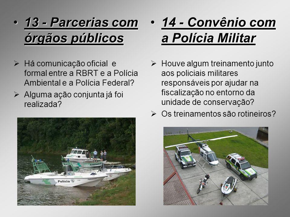 13 - Parcerias com órgãos públicos13 - Parcerias com órgãos públicos Há comunicação oficial e formal entre a RBRT e a Polícia Ambiental e a Polícia Fe