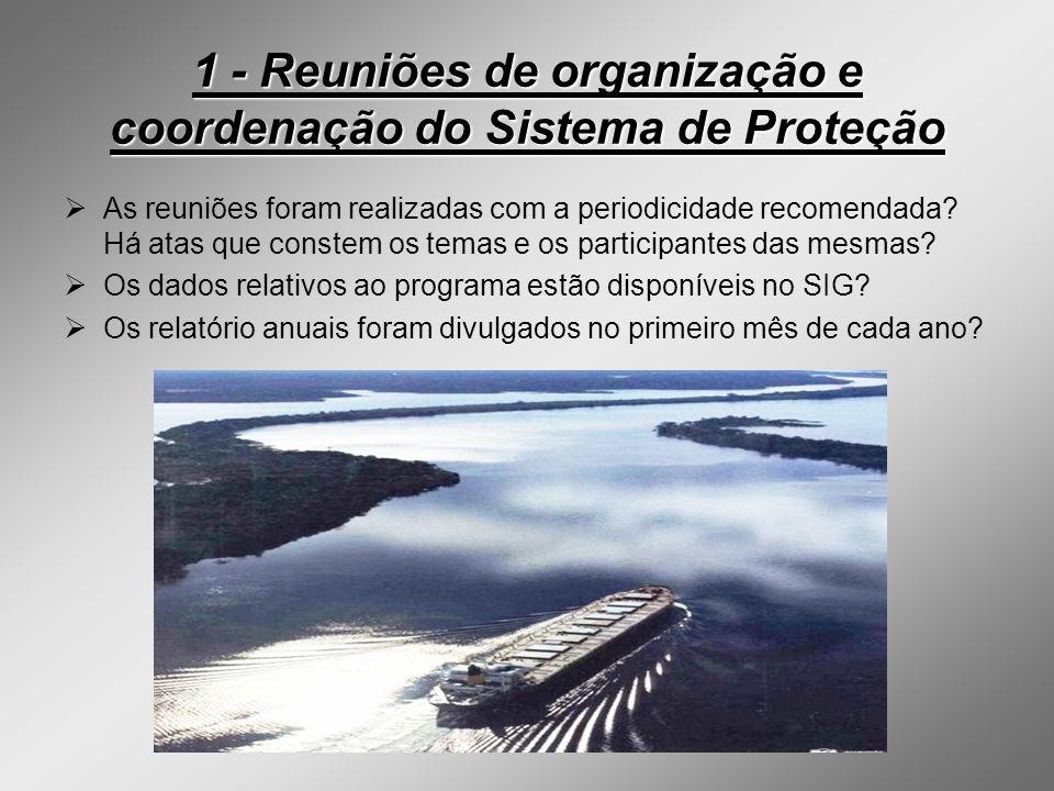 1 - Reuniões de organização e coordenação do Sistema de Proteção As reuniões foram realizadas com a periodicidade recomendada? Há atas que constem os