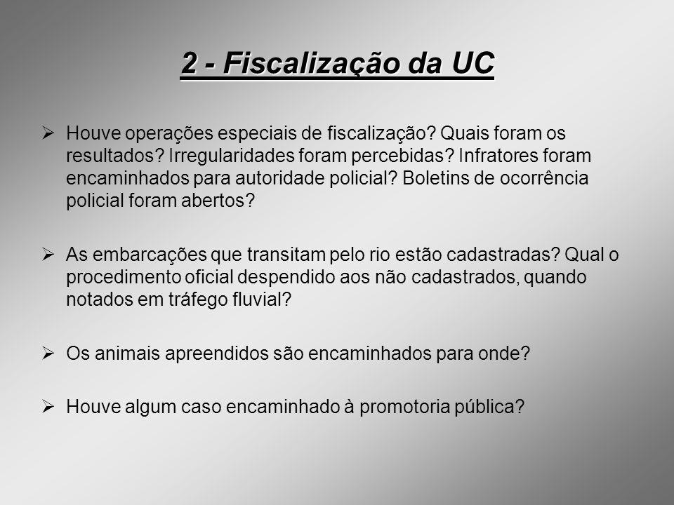 2 - Fiscalização da UC Houve operações especiais de fiscalização? Quais foram os resultados? Irregularidades foram percebidas? Infratores foram encami