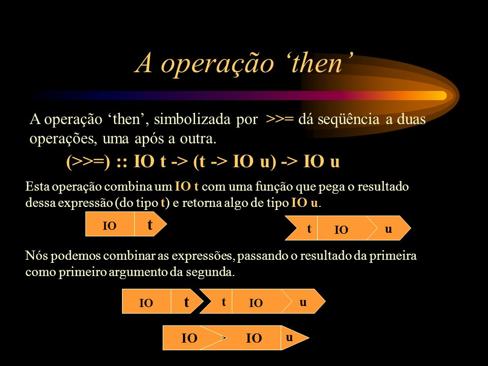 A operação then A operação then, simbolizada por >>= dá seqüência a duas operações, uma após a outra. (>>=) :: IO t -> (t -> IO u) -> IO u IO t tu Est