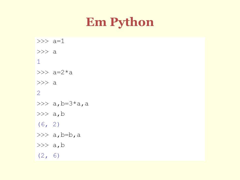 Em Python >>> a=1 >>> a 1 >>> a=2*a >>> a 2 >>> a,b=3*a,a >>> a,b (6, 2) >>> a,b=b,a >>> a,b (2, 6)