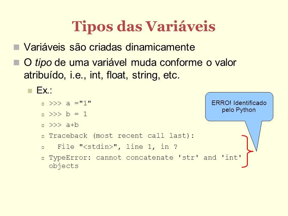 Tipos das Variáveis Variáveis são criadas dinamicamente O tipo de uma variável muda conforme o valor atribuído, i.e., int, float, string, etc. Ex.: >>