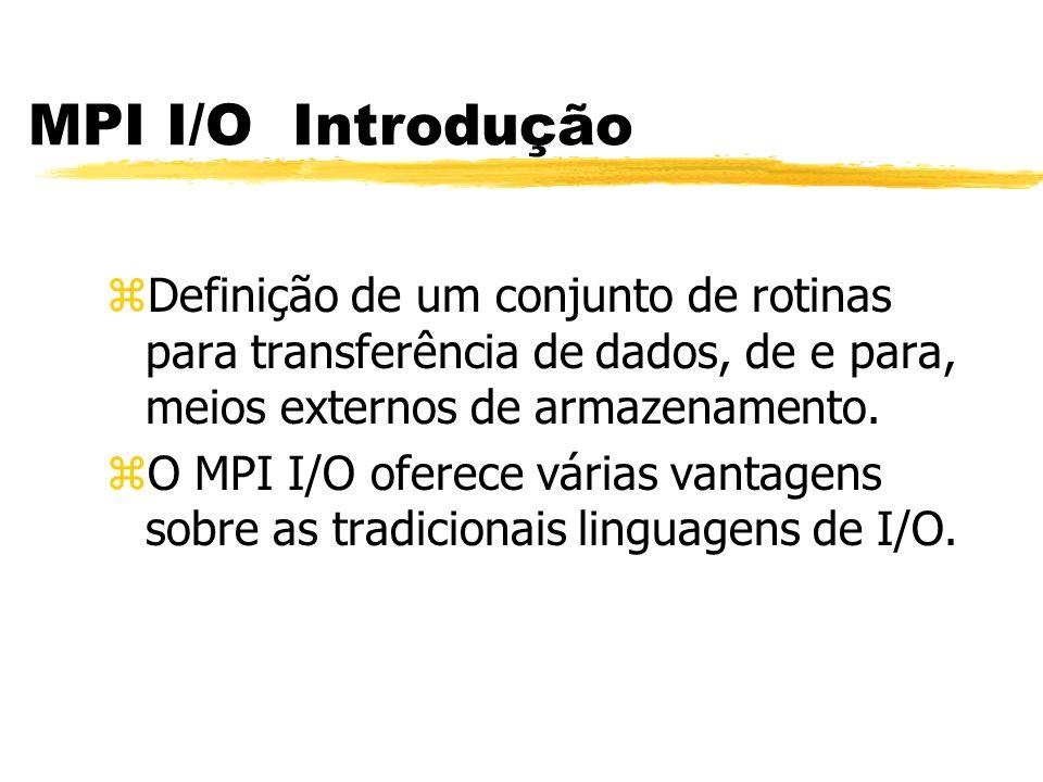 MPI I/O Introdução zDefinição de um conjunto de rotinas para transferência de dados, de e para, meios externos de armazenamento.