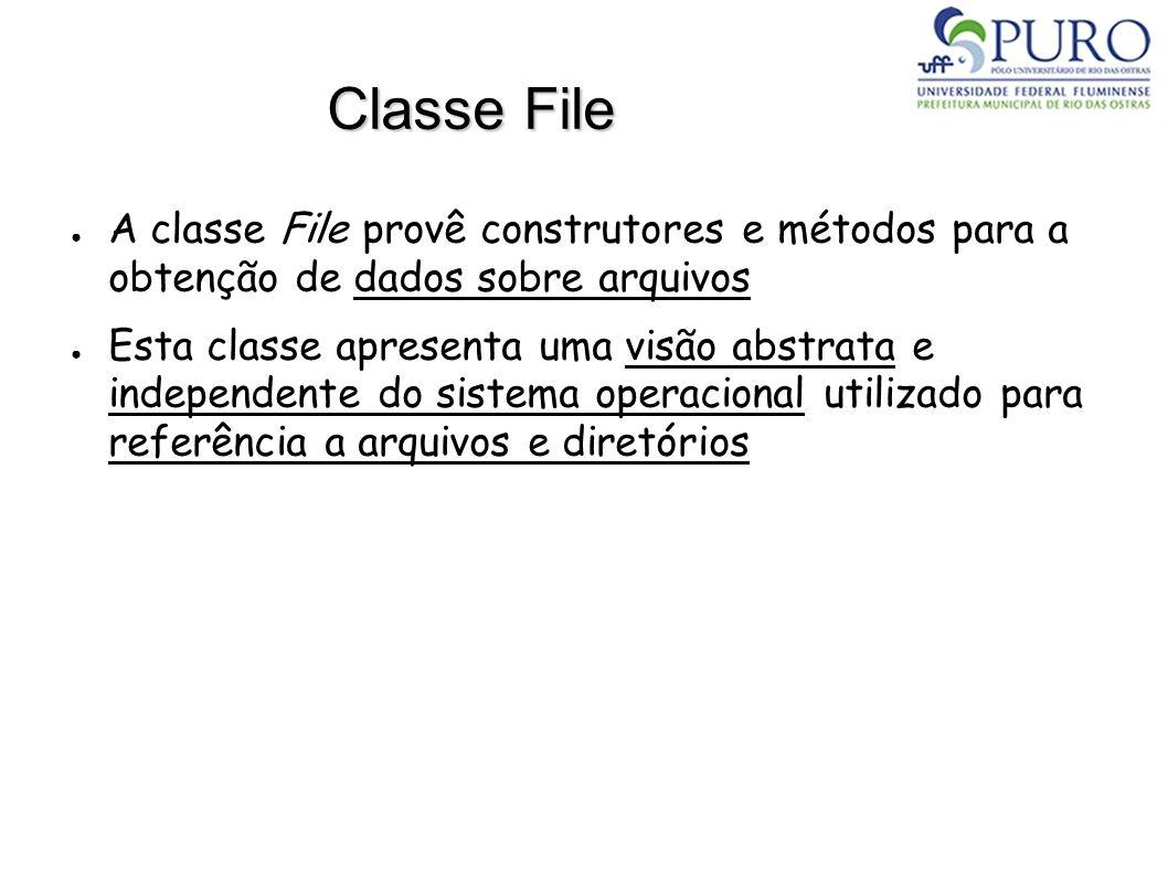 Classe File A classe File provê construtores e métodos para a obtenção de dados sobre arquivos Esta classe apresenta uma visão abstrata e independente