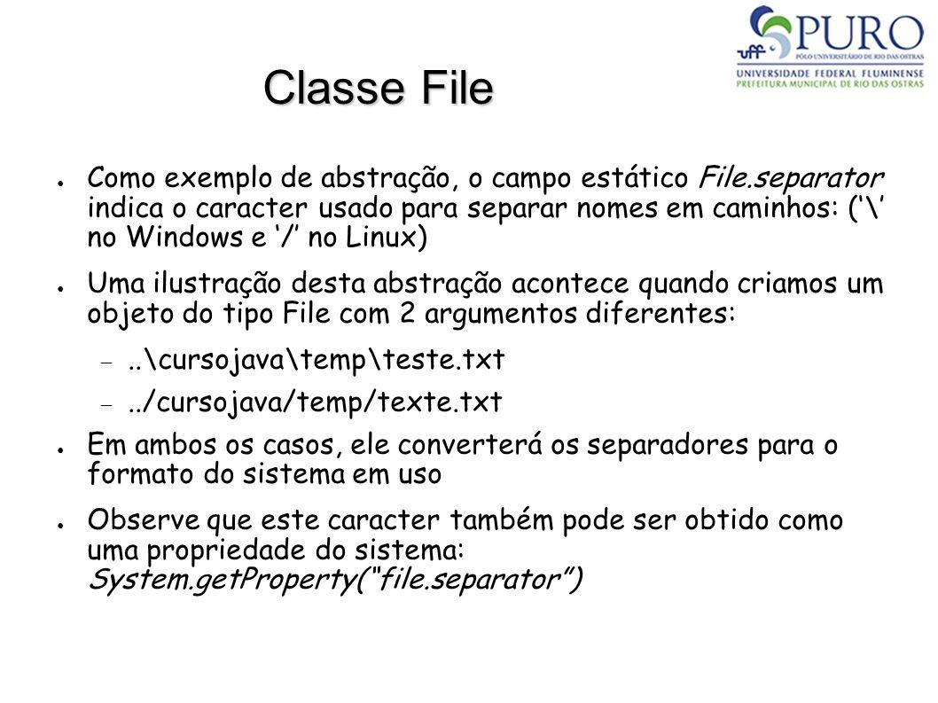 Classe File Como exemplo de abstração, o campo estático File.separator indica o caracter usado para separar nomes em caminhos: (\ no Windows e / no Li