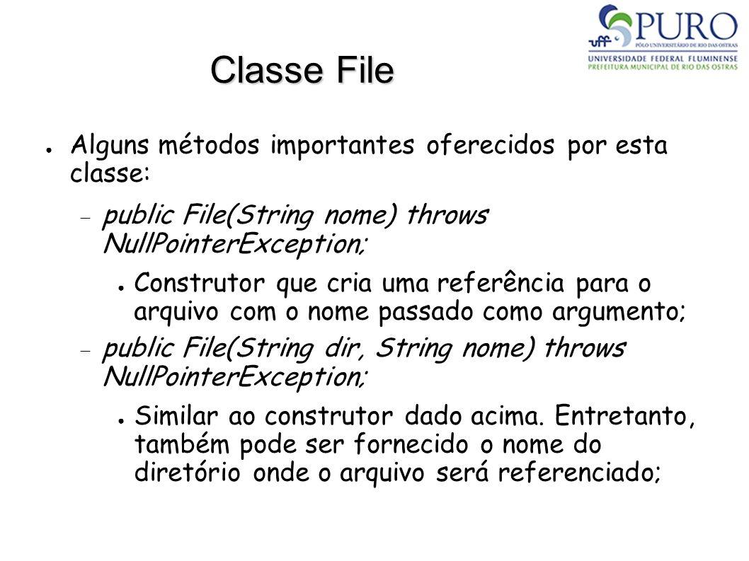 Classe File Alguns métodos importantes oferecidos por esta classe: public File(String nome) throws NullPointerException; Construtor que cria uma refer