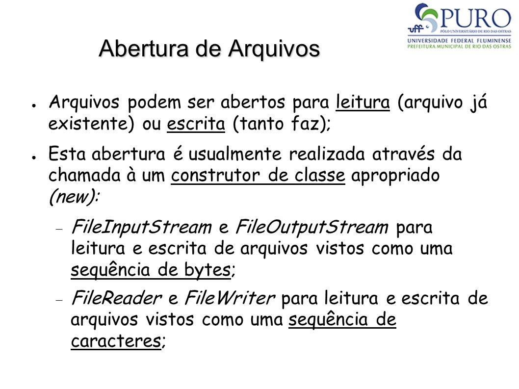 Abertura de Arquivos Arquivos podem ser abertos para leitura (arquivo já existente) ou escrita (tanto faz); Esta abertura é usualmente realizada atrav