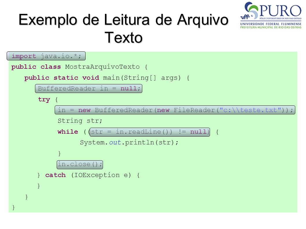Classe File Outros métodos importantes : public String[] getPath(); Caminho completo do arquivo public void mkdir() throws SecurityException; Cria um novo diretório public boolean renameTo(File novo) throws SecurityException; Renomeia o diretório para o valor que é passado por parâmetro public boolean delete() throws SecurityException; Remove o arquivo ao qual o método foi aplicado
