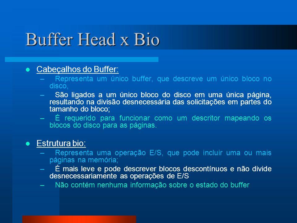 Buffer Head x Bio Cabeçalhos do Buffer: –Representa um único buffer, que descreve um único bloco no disco, –São ligados a um único bloco do disco em u