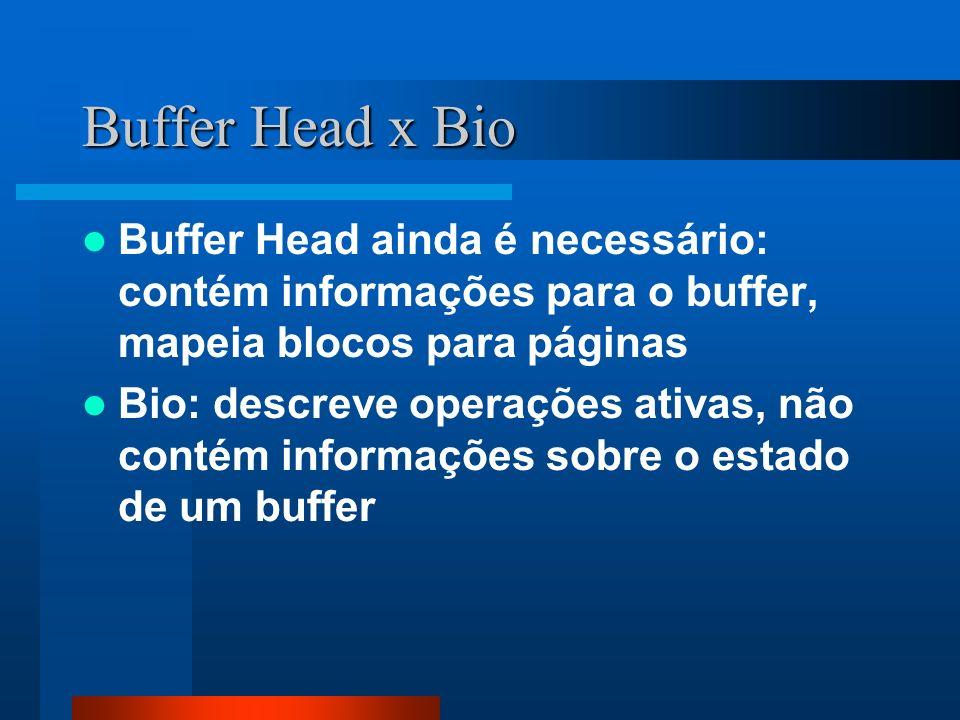 Buffer Head x Bio Buffer Head ainda é necessário: contém informações para o buffer, mapeia blocos para páginas Bio: descreve operações ativas, não con
