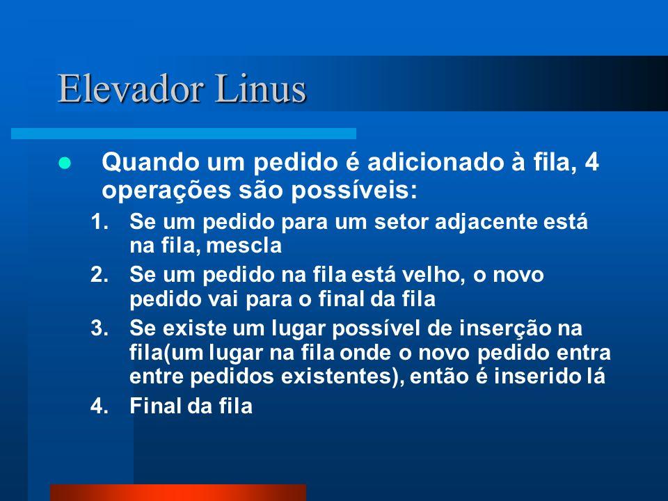 Elevador Linus Quando um pedido é adicionado à fila, 4 operações são possíveis: 1.Se um pedido para um setor adjacente está na fila, mescla 2.Se um pe