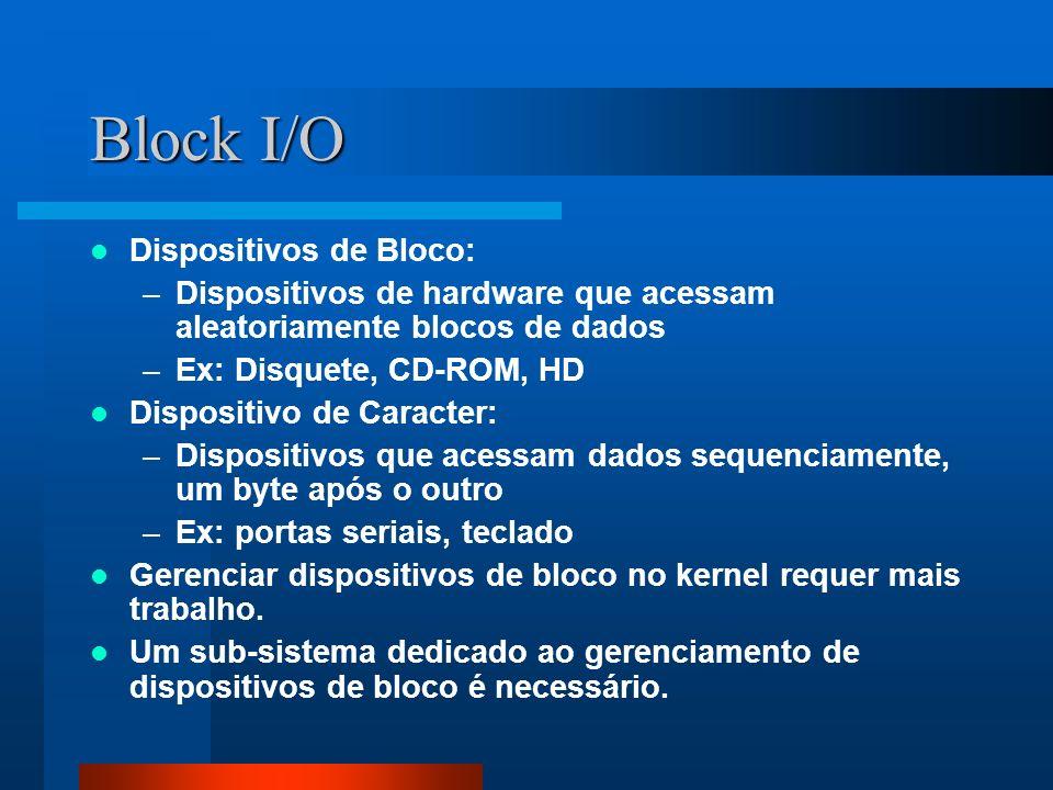 Block I/O Dispositivos de Bloco: –Dispositivos de hardware que acessam aleatoriamente blocos de dados –Ex: Disquete, CD-ROM, HD Dispositivo de Caracte