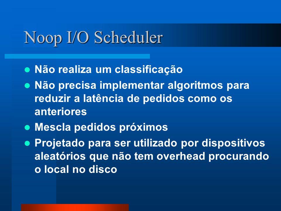 Noop I/O Scheduler Não realiza um classificação Não precisa implementar algoritmos para reduzir a latência de pedidos como os anteriores Mescla pedido