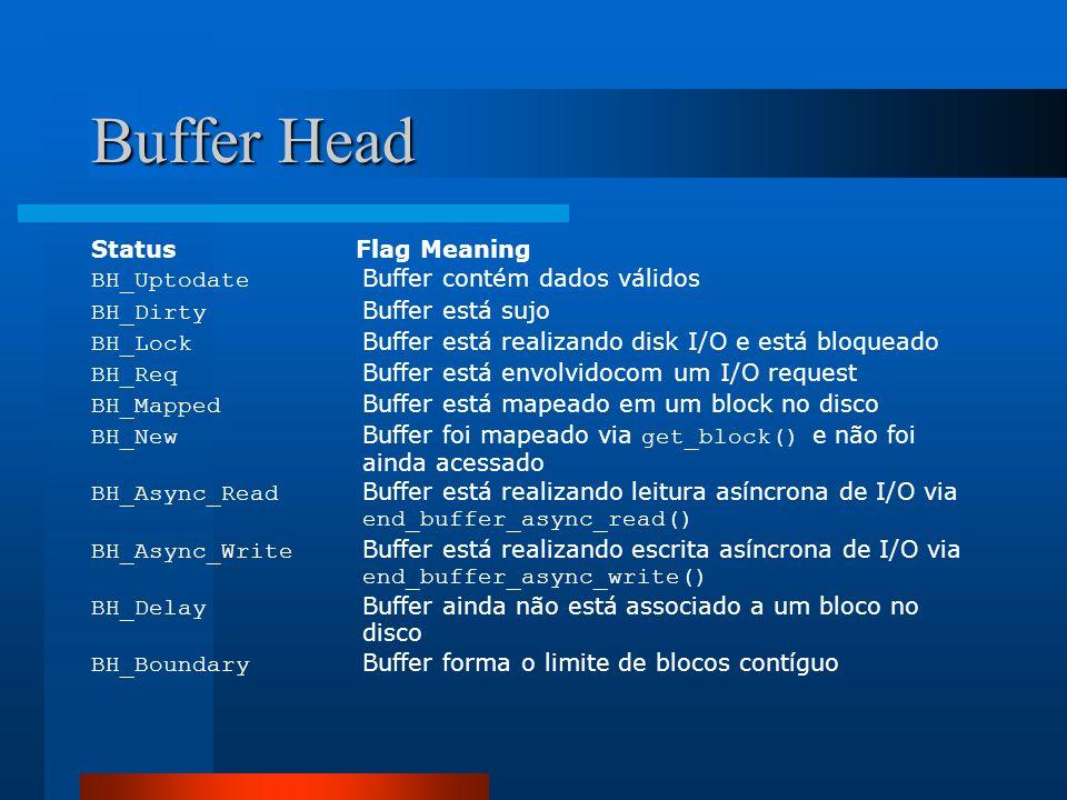 Buffer Head Status Flag Meaning BH_Uptodate Buffer contém dados válidos BH_Dirty Buffer está sujo BH_Lock Buffer está realizando disk I/O e está bloqu