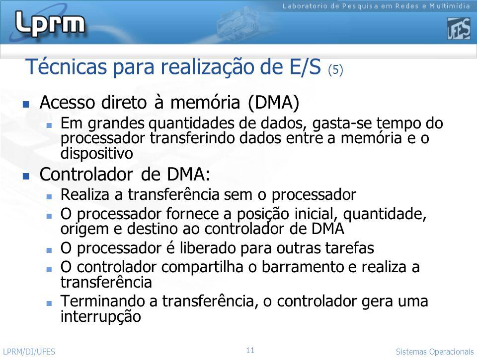 11 Sistemas Operacionais LPRM/DI/UFES Técnicas para realização de E/S (5) Acesso direto à memória (DMA) Em grandes quantidades de dados, gasta-se temp