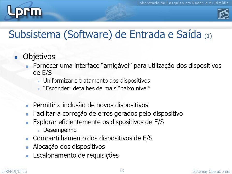 13 Sistemas Operacionais LPRM/DI/UFES Subsistema (Software) de Entrada e Saída (1) Objetivos Fornecer uma interface amigável para utilização dos dispo