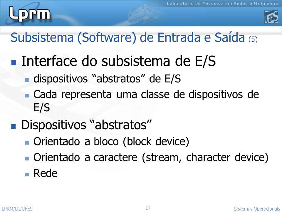 17 Sistemas Operacionais LPRM/DI/UFES Subsistema (Software) de Entrada e Saída (5) Interface do subsistema de E/S dispositivos abstratos de E/S Cada r