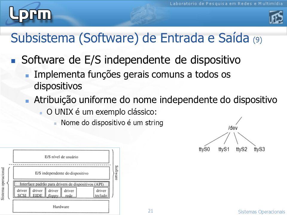 21 Sistemas Operacionais LPRM/DI/UFES Subsistema (Software) de Entrada e Saída (9) Software de E/S independente de dispositivo Implementa funções gera