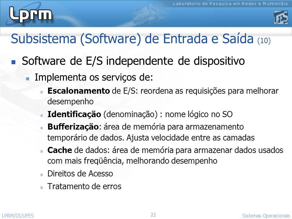 22 Sistemas Operacionais LPRM/DI/UFES Subsistema (Software) de Entrada e Saída (10) Software de E/S independente de dispositivo Implementa os serviços