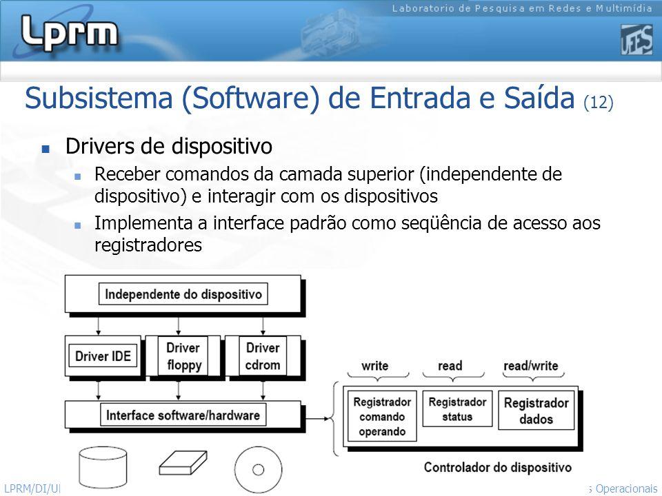 24 Sistemas Operacionais LPRM/DI/UFES Subsistema (Software) de Entrada e Saída (12) Drivers de dispositivo Receber comandos da camada superior (indepe
