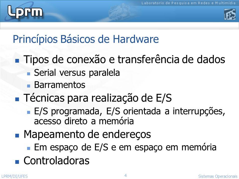 4 Sistemas Operacionais LPRM/DI/UFES Princípios Básicos de Hardware Tipos de conexão e transferência de dados Serial versus paralela Barramentos Técni
