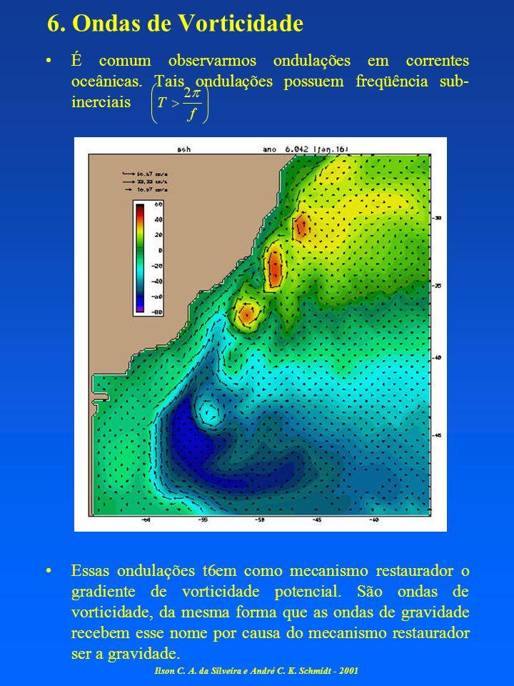 6. Ondas de Vorticidade É comum observarmos ondulações em correntes oceânicas. Tais ondulações possuem freqüência sub- inerciais Essas ondulações t6em