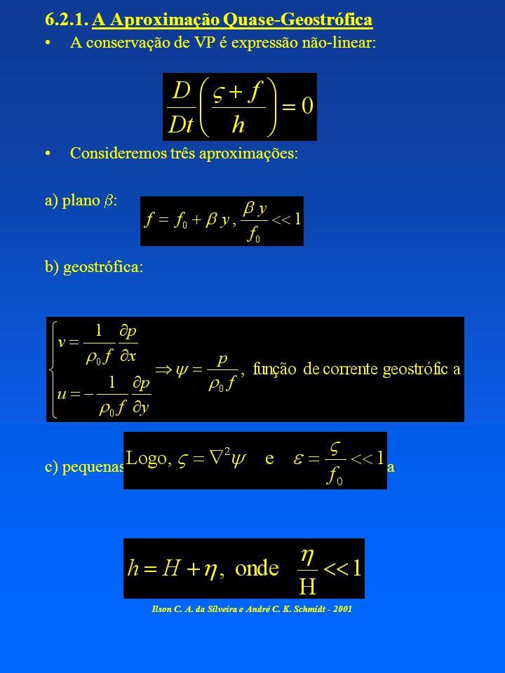 6.2.1. A Aproximação Quase-Geostrófica A conservação de VP é expressão não-linear: Consideremos três aproximações: a) plano : b) geostrófica: c) peque