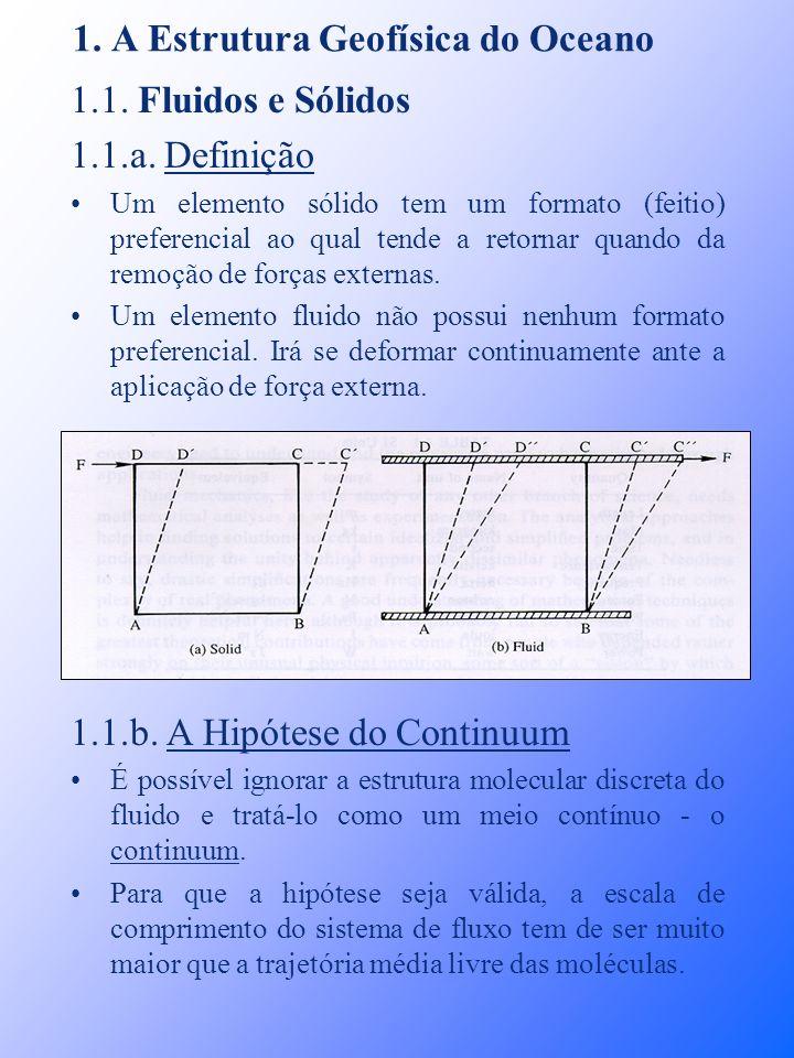 1. A Estrutura Geofísica do Oceano 1.1. Fluidos e Sólidos 1.1.a. Definição Um elemento sólido tem um formato (feitio) preferencial ao qual tende a ret