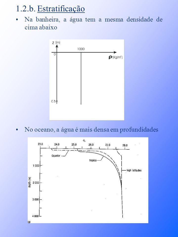 1.2.b. Estratificação Na banheira, a água tem a mesma densidade de cima abaixo No oceano, a água é mais densa em profundidades