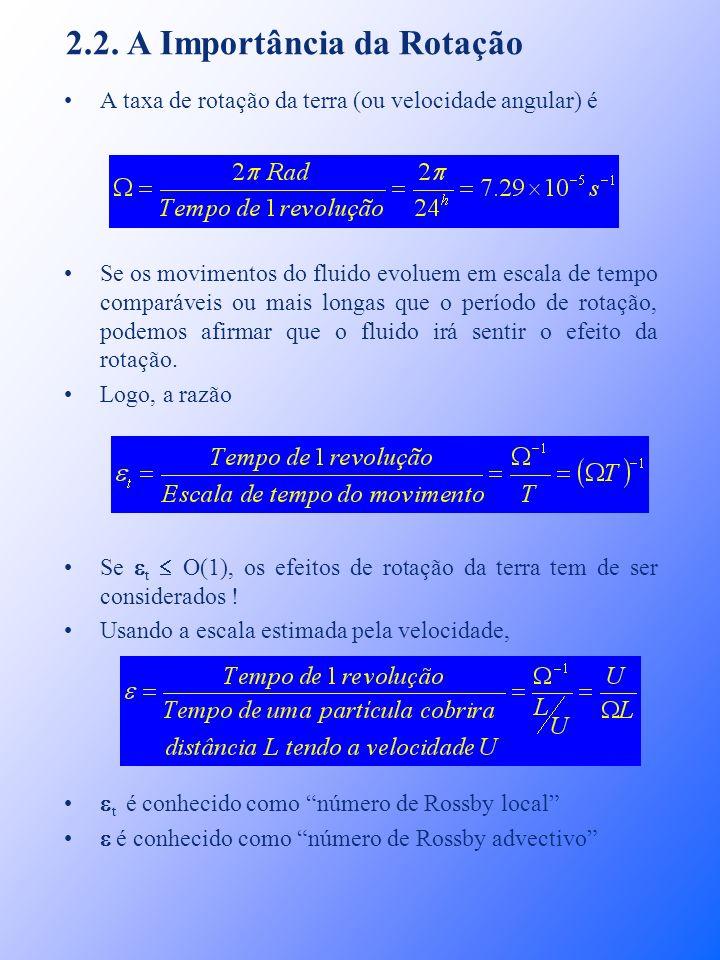 2.2. A Importância da Rotação A taxa de rotação da terra (ou velocidade angular) é Se os movimentos do fluido evoluem em escala de tempo comparáveis o