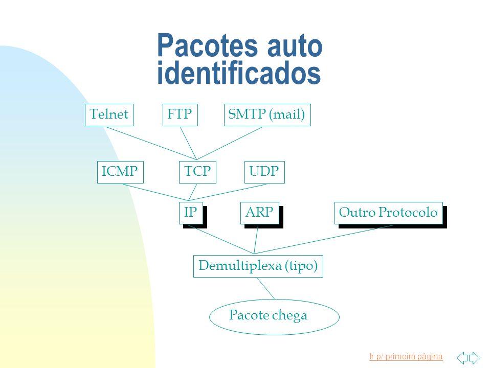 Ir p/ primeira página Pacotes auto identificados Pacote chega Demultiplexa (tipo) IP ARP Outro Protocolo ICMPTCPUDPTelnetFTPSMTP (mail)