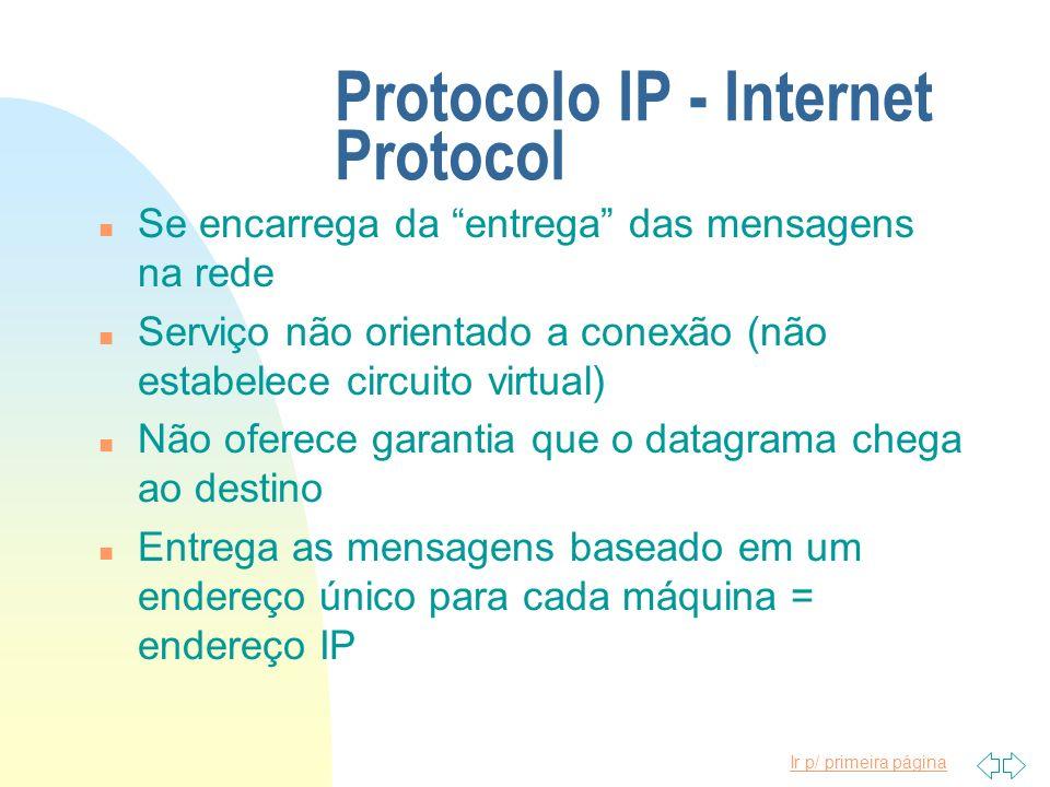Ir p/ primeira página Protocolo IP - Internet Protocol n Se encarrega da entrega das mensagens na rede n Serviço não orientado a conexão (não estabele