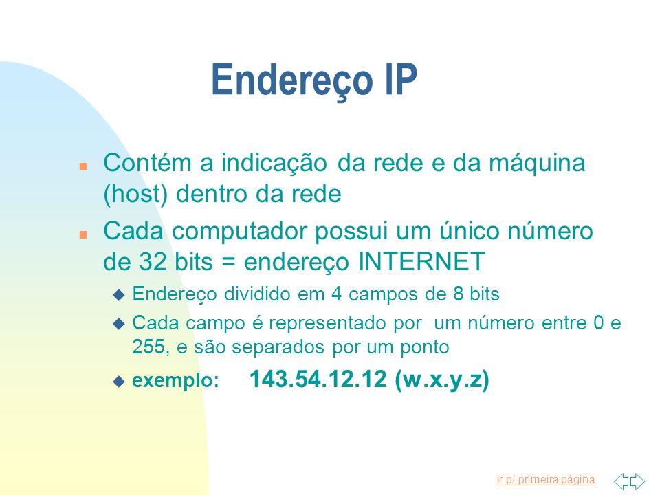 Ir p/ primeira página Endereço IP n Contém a indicação da rede e da máquina (host) dentro da rede n Cada computador possui um único número de 32 bits
