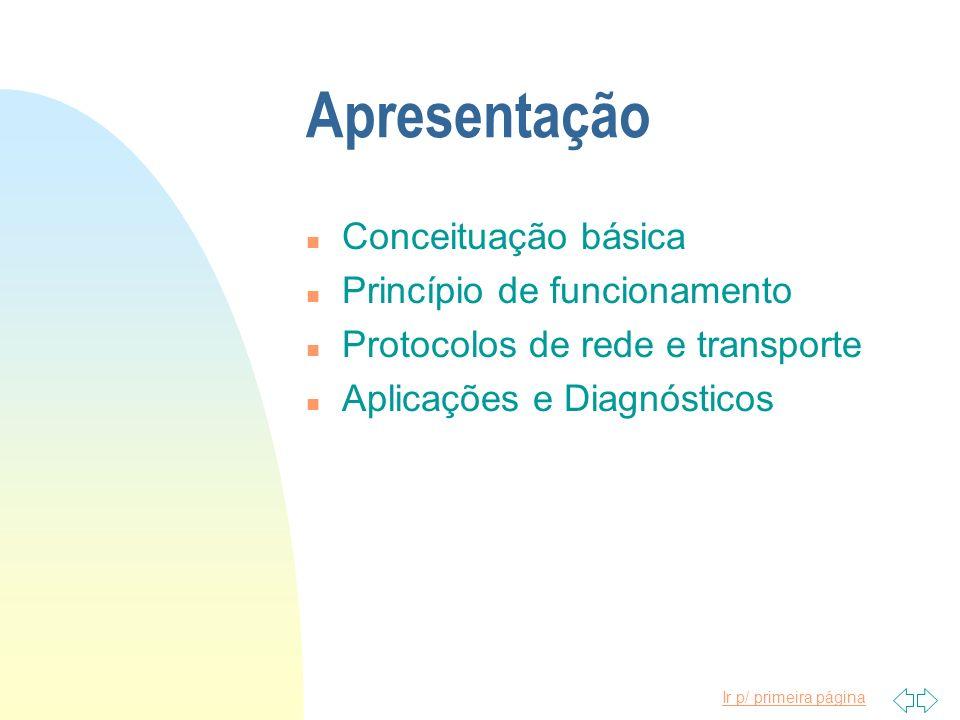 Ir p/ primeira página Apresentação n Conceituação básica n Princípio de funcionamento n Protocolos de rede e transporte n Aplicações e Diagnósticos