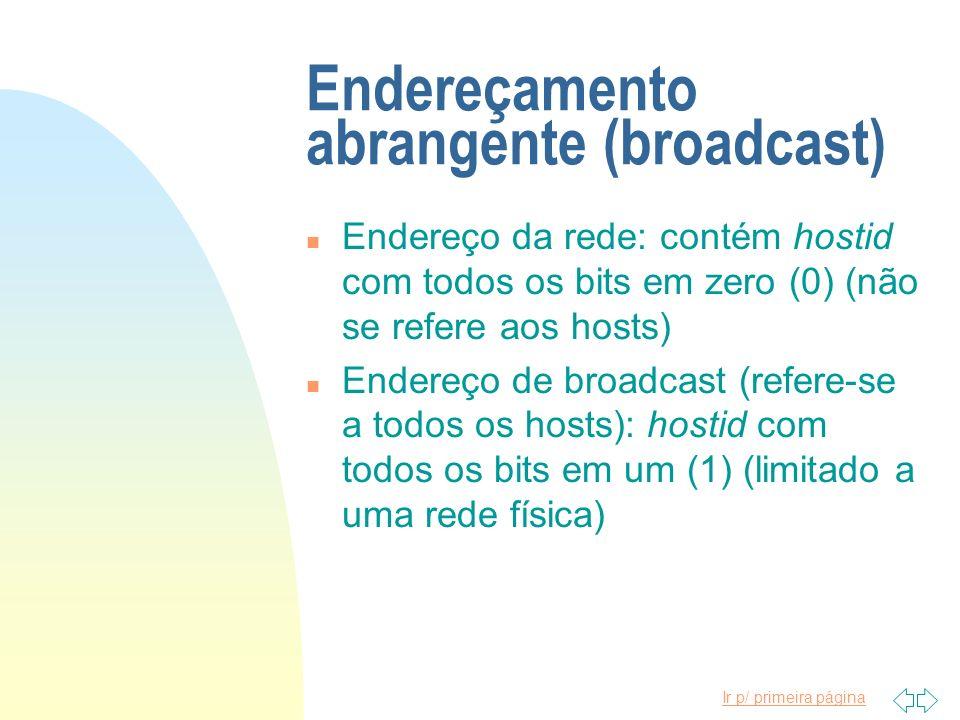 Ir p/ primeira página Endereçamento abrangente (broadcast) n Endereço da rede: contém hostid com todos os bits em zero (0) (não se refere aos hosts) n