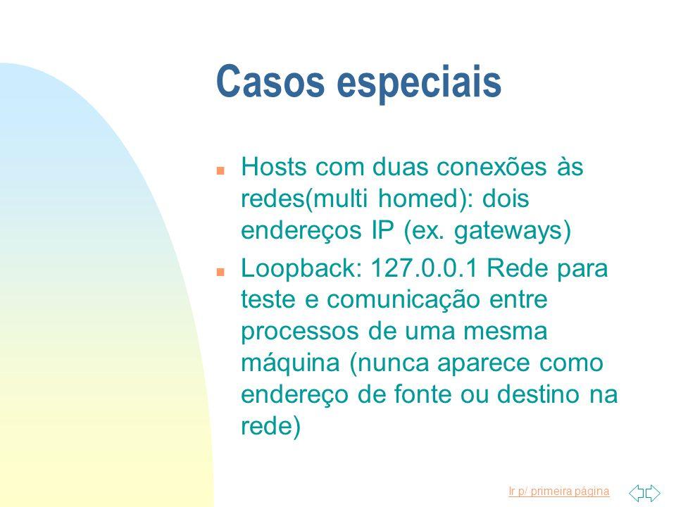 Ir p/ primeira página Casos especiais n Hosts com duas conexões às redes(multi homed): dois endereços IP (ex. gateways) n Loopback: 127.0.0.1 Rede par