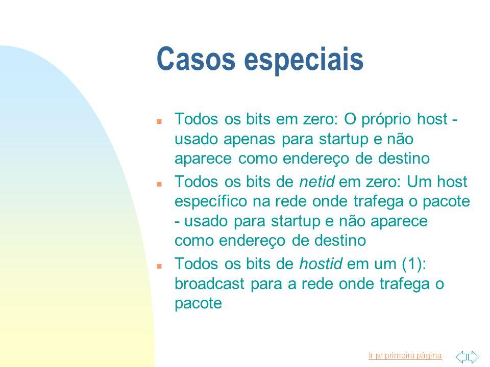 Ir p/ primeira página Casos especiais n Todos os bits em zero: O próprio host - usado apenas para startup e não aparece como endereço de destino n Tod