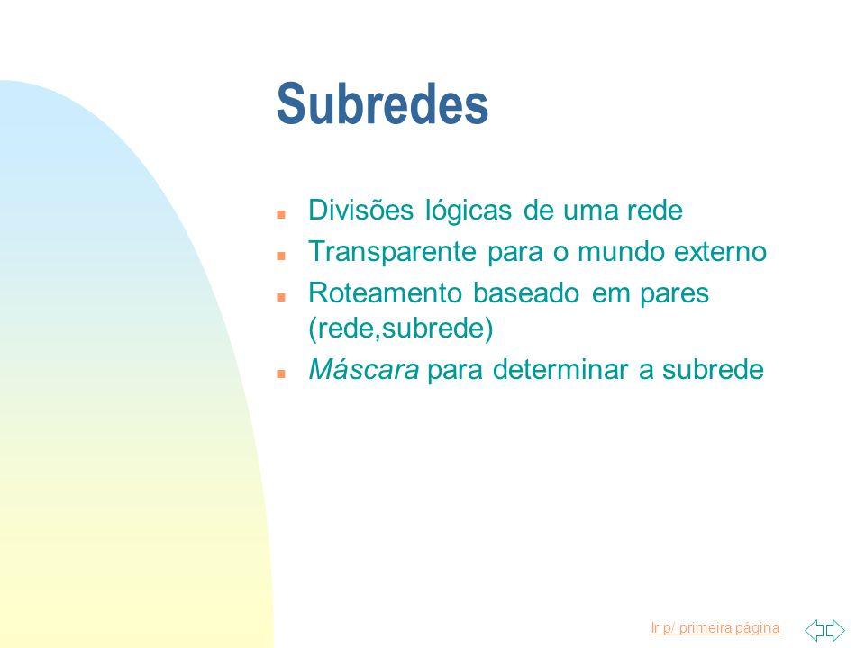 Ir p/ primeira página Subredes n Divisões lógicas de uma rede n Transparente para o mundo externo n Roteamento baseado em pares (rede,subrede) n Másca
