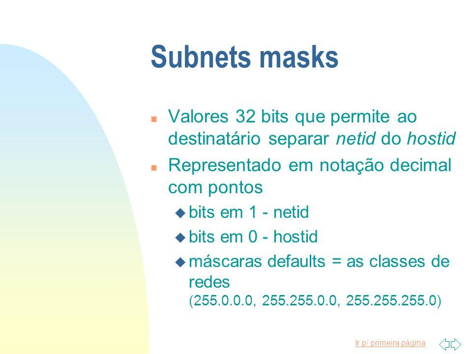Ir p/ primeira página Subnets masks n Valores 32 bits que permite ao destinatário separar netid do hostid n Representado em notação decimal com pontos