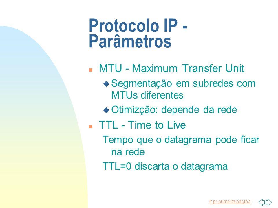 Ir p/ primeira página Protocolo IP - Parâmetros n MTU - Maximum Transfer Unit u Segmentação em subredes com MTUs diferentes u Otimizção: depende da re
