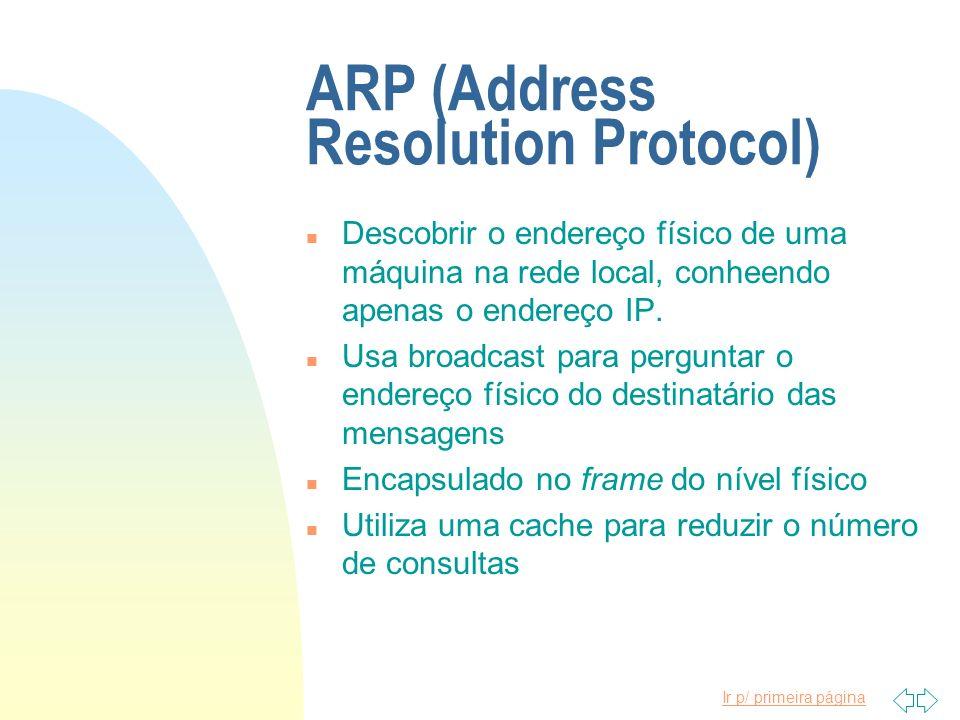 Ir p/ primeira página ARP (Address Resolution Protocol) n Descobrir o endereço físico de uma máquina na rede local, conheendo apenas o endereço IP. n