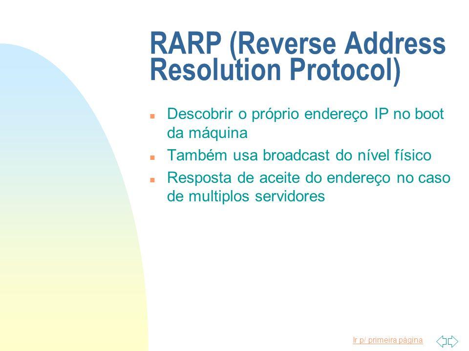 Ir p/ primeira página RARP (Reverse Address Resolution Protocol) n Descobrir o próprio endereço IP no boot da máquina n Também usa broadcast do nível
