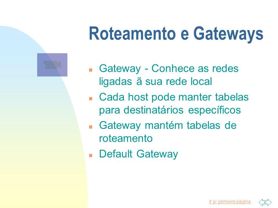 Ir p/ primeira página Roteamento e Gateways n Gateway - Conhece as redes ligadas ã sua rede local n Cada host pode manter tabelas para destinatários e