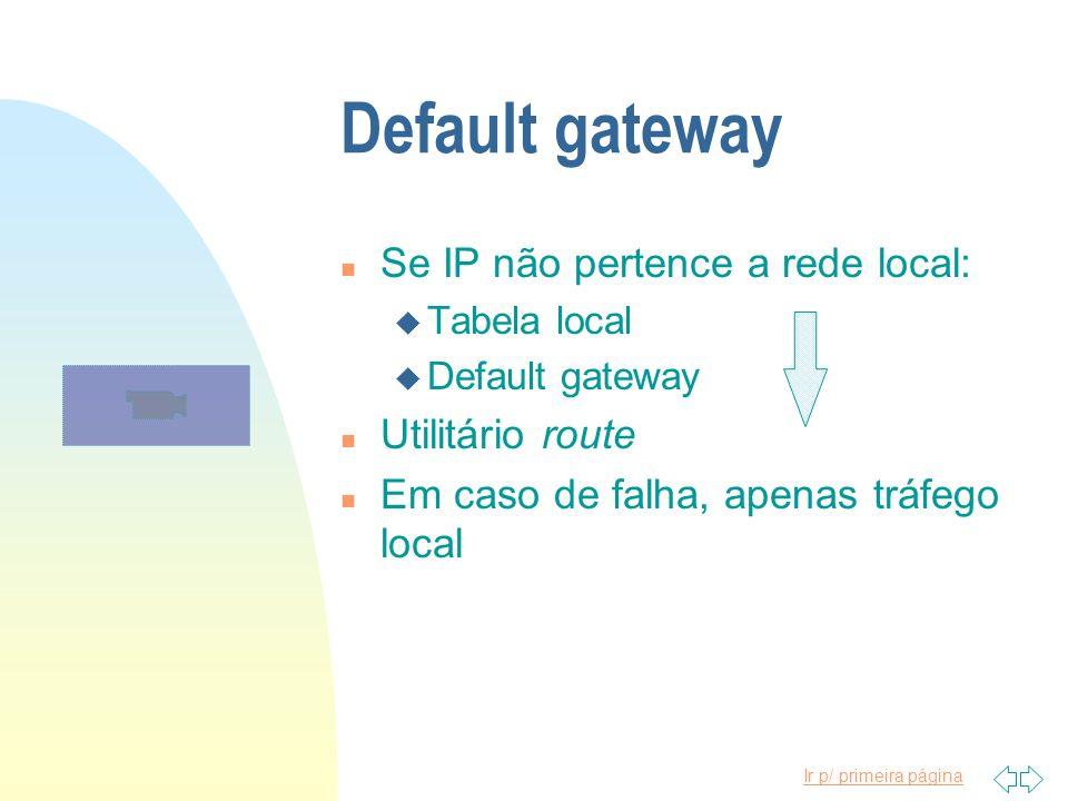 Ir p/ primeira página Default gateway n Se IP não pertence a rede local: u Tabela local u Default gateway n Utilitário route n Em caso de falha, apena