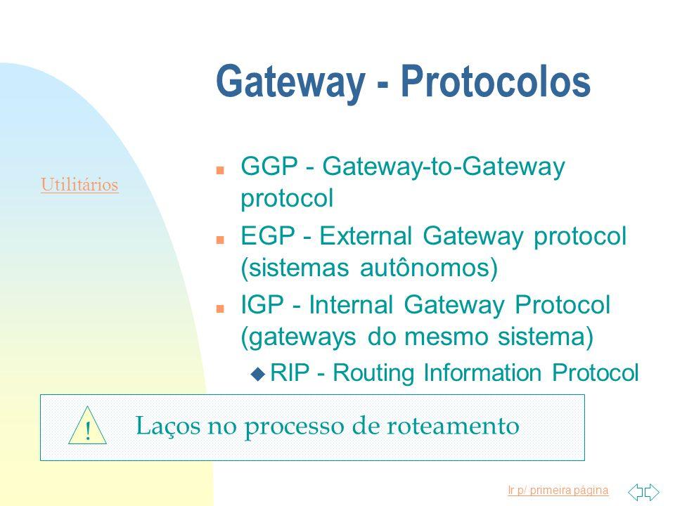 Gateway - Protocolos n GGP - Gateway-to-Gateway protocol n EGP - External Gateway protocol (sistemas autônomos) n IGP - Internal Gateway Protocol (gat