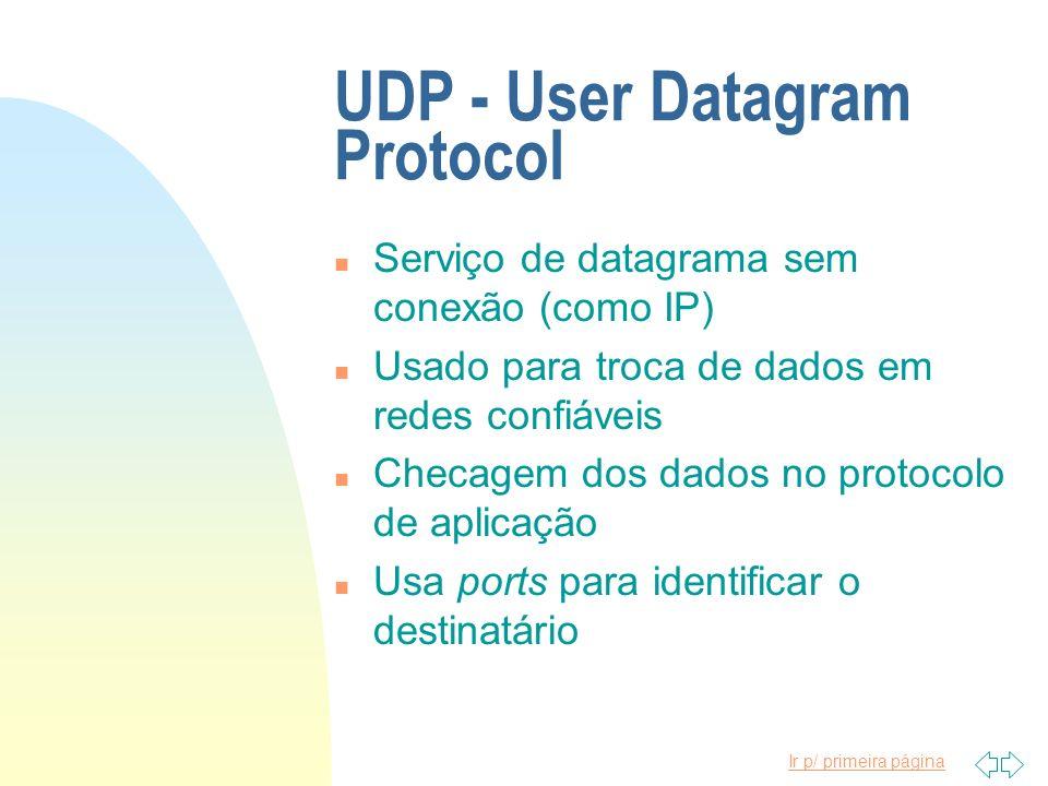 Ir p/ primeira página UDP - User Datagram Protocol n Serviço de datagrama sem conexão (como IP) n Usado para troca de dados em redes confiáveis n Chec