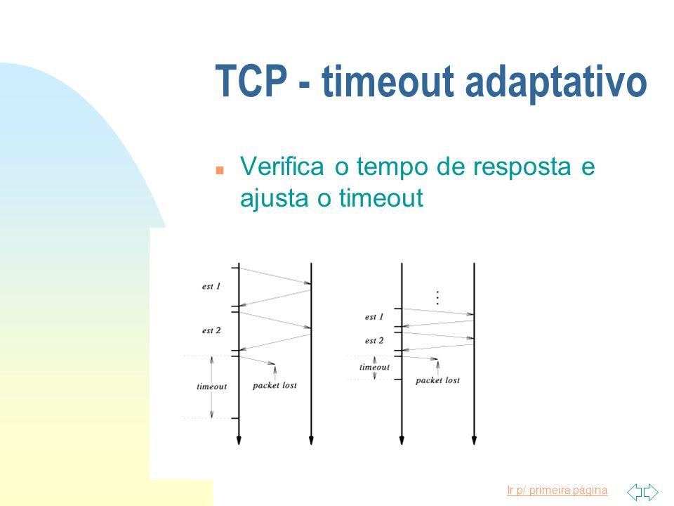 Ir p/ primeira página TCP - timeout adaptativo n Verifica o tempo de resposta e ajusta o timeout