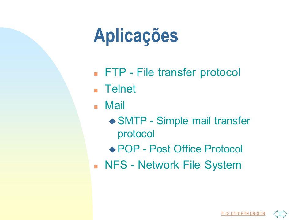 Ir p/ primeira página Aplicações n FTP - File transfer protocol n Telnet n Mail u SMTP - Simple mail transfer protocol u POP - Post Office Protocol n
