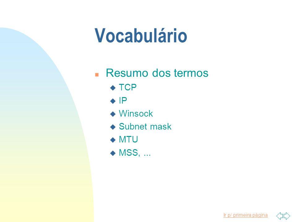 Ir p/ primeira página Vocabulário n Resumo dos termos u TCP u IP u Winsock u Subnet mask u MTU u MSS,...